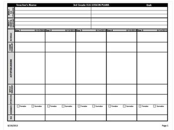 3rd Grade Common Core Weekly Lesson Plan Template -  ELA & Math (Landscape)