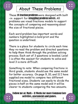 3rd Grade Common Core  Problem Solving Fractions