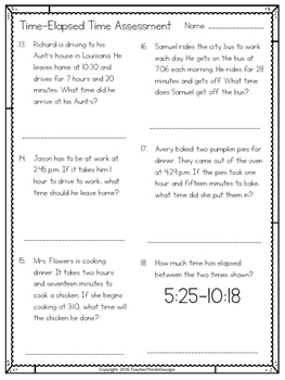 3rd Grade Common Core- Telling Time-Elapsed Time Unit Assessment Test