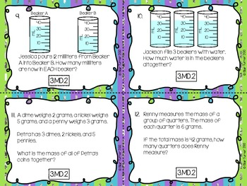 3rd Grade Common Core Test Prep Task Cards - MEASUREMENT AND DATA