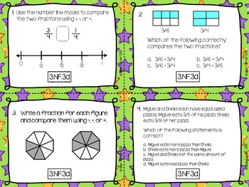 3rd Grade Common Core Test Prep Task Cards - NUMBER AND OPERATIONS - FRACTIONS