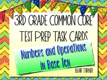 3rd Grade Common Core Test Prep Task Cards - NUMBERS AND O