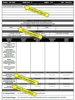 3rd Grade Common Core Weekly Lesson Plan Template - ELA & Math (Microsoft Word)