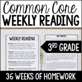 3rd Grade Reading Homework BUNDLE | Reading Comprehension Review