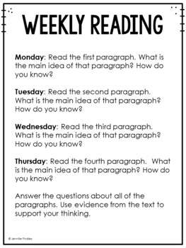 3rd Grade Common Core Weekly Reading Review {Set 5: Main Idea}