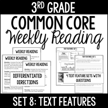 3rd Grade Reading Review | Set 8: Text Features | Common Core Aligned