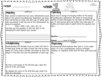 Word Problems 3rd Grade, February
