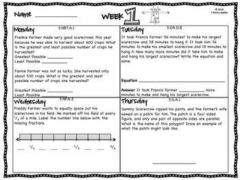 Word Problems 3rd Grade, November