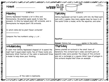 Word Problems 3rd Grade, September