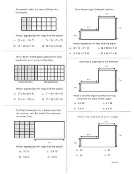 3rd Grade Common Core Worksheets for 3.MD.5, 3.MD.6, 3.MD.
