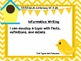 """3rd Grade Common Core Writing - """"I Can"""" Learning Targets - Birds"""