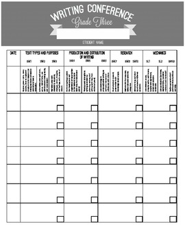 3rd Grade Common Core Writing Observation Form