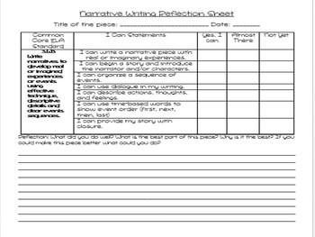3rd Grade Common Core Writing Reflection Sheets