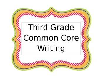 3rd Grade Common Core Writing Rubrics for Teacher and Students