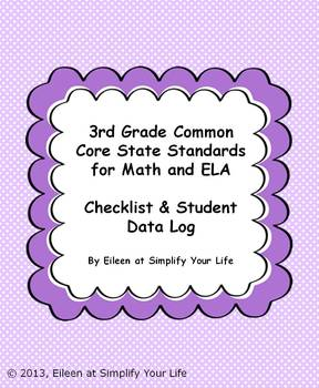"3rd Grade Common Core for Math and ELA ""Checklist & Student Data Log"""