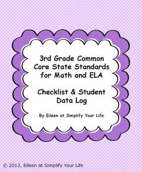 "3rd Grade Common Core for Math and ELA ""Checklist & Studen"