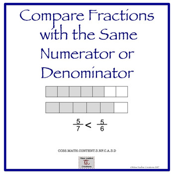 3rd Grade:Lessons Comparing Fractions with the same Numerator or Denominator