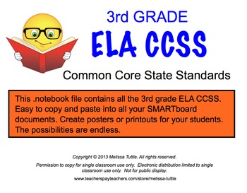 3rd Grade Complete ELA CCSS SMARTboard .notebook