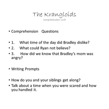 3rd Grade Comprehension Story, 'The Krangloids' just in time for Halloween!