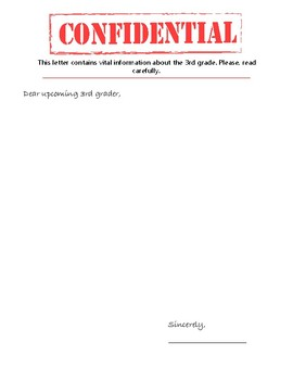 """3rd Grade """"Confidential"""" Letter to Upcoming Students"""