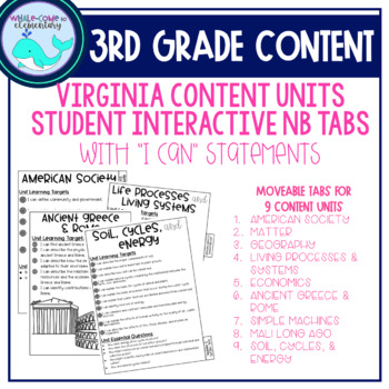3rd Grade Content Notebook Learning Target Tabs (VA)