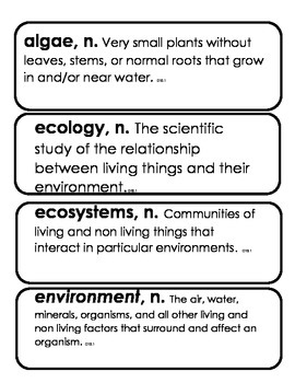 3rd Grade Core Knowledge Domain 11 Vocabulary Ecology