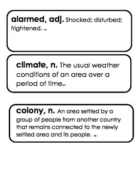 3rd Grade Core Knowledge Domain 10 Vocabulary Colonial Ame