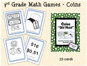 """3rd Grade Counting Money - """"Old Maid"""" Math Game"""