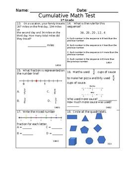 3rd Grade Cumulative Math Assessment