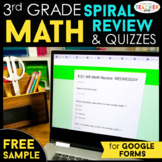 3rd Grade DIGITAL Math Spiral Review & Weekly Quizzes | Google Forms | FREE