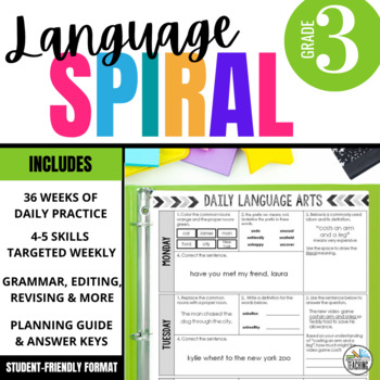 3rd Grade Language Spiral Review: Daily grammar, word work, & editing activities