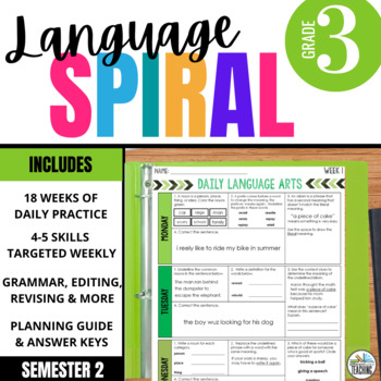 3rd Grade Daily ELA for Writing & Language: Morning Work for Weeks 19-27