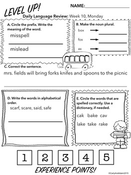 3rd Grade Daily Language Review: 2nd Quarter, weeks 10-18