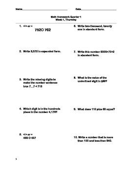 3rd Grade Daily Math Homework QUARTER ONE Common Core Friendly!