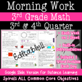 Math Morning Work for 3rd Grade - 3rd and 4th quarter -Dis