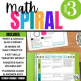 3rd Grade Math Spiral Review PRINT & DIGITAL   Full Year