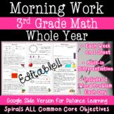 3rd Grade Math Morning Work - Distance Learning - Google C