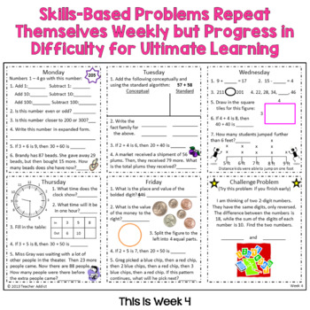 3rd Grade Math Morning Work - Two FREE Weeks by Teacher Addict | TpT