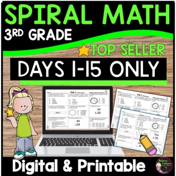 3rd Grade Math Spiral Review for Morning Work or Homework- DAYS 1-15 ONLY!