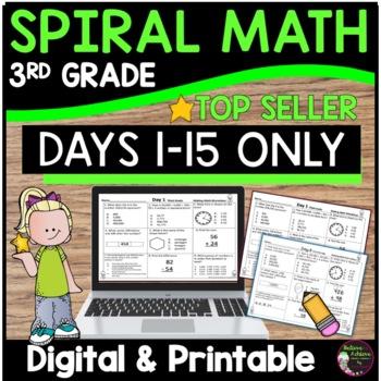 3rd Grade Daily Math Morning Work or Homework- Days 1-15