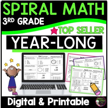 3rd Grade Morning Work/ Homework Bundle of Math (Year-long)
