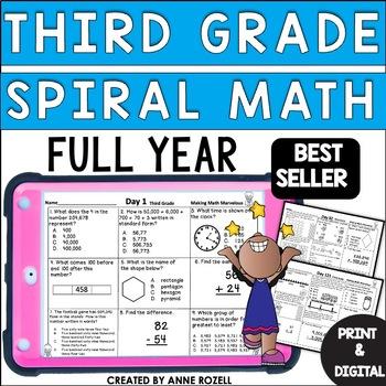 3rd Grade Math Spiral Review for Morning Work or Homework