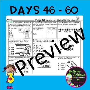 3rd Grade Daily Math Morning Work or Homework- Days 46-60