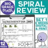 3rd Grade Math Spiral Review Morning Work Set 1 (6 weeks)