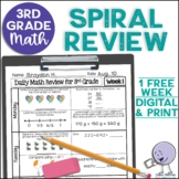 3rd Grade Morning Work | 3rd Grade Spiral Math Review | 1-week FREEBIE
