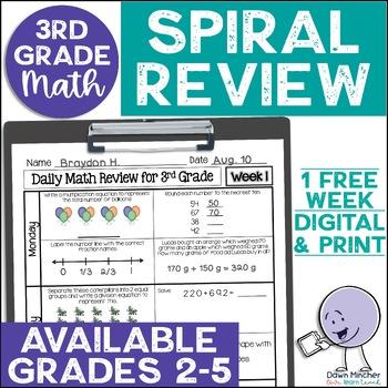 3rd Grade Morning Work | 3rd Grade Spiral Math Review | 1-week FREEBIE