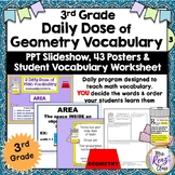 Geometry Word Wall Posters 3rd Grade with PowerPoint Slide