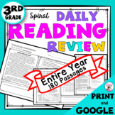 3rd Grade Daily Reading Comprehension Spiral Reading Review Bundle
