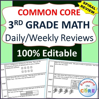 3rd Grade Daily / Weekly Spiral Math Review {Common Core}