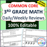 3rd Grade Daily or Weekly Spiral Math Review {Common Core} -  100% Editable